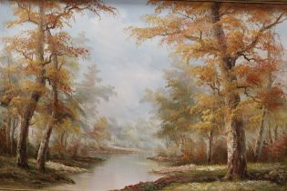 A LARGE GILT FRAMED OIL ON CANVAS OF A RIVER WOODLAND SCENE, SIGNED LOWER RIGHT, OVERALL HEIGHT 67