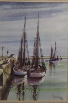 A FRAMED AND GLAZED PRINT OF SAIL BOATS MOORED IN A HARBOUR, BY TONY WARREN 1992, OVERALL HEIGHT