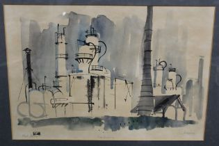 A FRAMED AND GLAZED 20TH CENTURY POLISH SCHOOL MIXED MEDIA OF A FACTORY, SIGNED , OVERALL HEIGHT