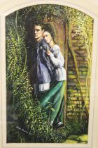 LOUISE SOUTHAN - OIL ON GOUACHE 'SECRET LOVERS TRYST' SIGNED AND DATED '88 LOWER LEFT, OVERALL