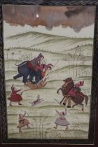 A LARGE FRAMED AND GLAZED SUB CONTINENTAL SCENE OF VILLAGERS ATTACKING A TIGER, AN OIL PAINTING ON