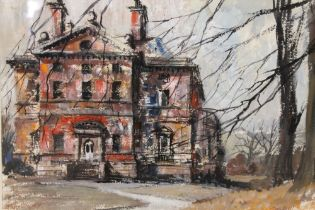 A MIXED MEDIA WATERCOLOUR AND OIL 'THE HALL BARLASTON' SIGNED LOWER LEFT