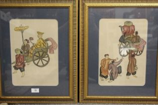 TWO FRAMED AND GLAZED CHINESE STYLE PAINTINGS ON FABRIC, SIGNED LOWER LEFT, OVERALL HEIGHT 52 CM