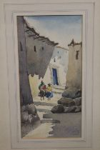 A FRAMED AND GLAZED WATERCOLOUR OF A SOUTH AMERICAN VILLAGE SCENE, SIGNED AND DATED LOWER RIGHT