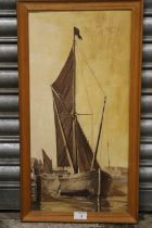 FRAMED J W CATLING OIL ON BOARD OF A SAIL SHIP IN PORT, SIGNED LOWER LEFT, DATED 1971 VERSO, OVERALL