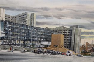 A FRAMED WATERCOLOUR OF THE ROYAL LIVERPOOL HOSPITAL, SIGNED LOWER RIGHT E. SCOTT JONES 1986,