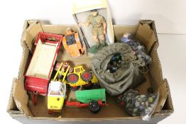 A SMALL TRAY OF TOYS TO INCLUDE A BAG OF VINTAGE MARBLES, MODEL OF A BOY SCOUT, MATCHBOX VEHICLES