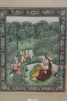 A FRAMED AND GLAZED SUB CONTINENTAL OIL PAINTING OF PEOPLE IN AN ORCHARD, OVERALL HEIGHT 38.5 CM