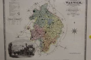 A FRAMED AND GLAZED COLOURED TINTED MAP OF WARWICKSHIRE, OVERALL HEIGHT 45 CM