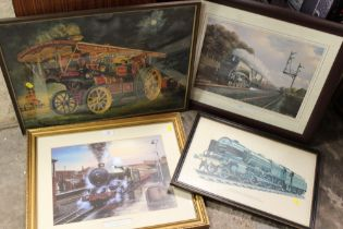 A QUANTITY OF FRAMED AND GLAZED RAILWAY STEAM ENGINE AND STEAM ROLLER PRINTS (4)
