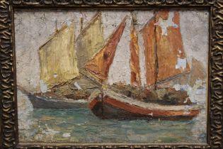 (XX). Continental school, an impressionist boat scene, oil on board, gilt framed, 15 x 21 cm A/