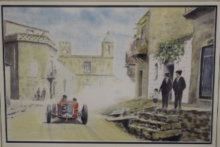 A FRAMED AND GLAZED WATERCOLOUR OF A CONTINENTAL AUTOMOBILE RACE, DETAILED LOWER RIGHT 'ACHILLE