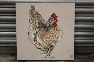 AN OIL ON CANVAS OF A CHICKEN, SIGNED LOWER RIGHT, OVERALL HEIGHT 50 CM