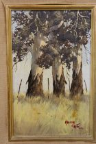 A FRAMED OIL ON BOARD STUDY OF TREE TRUNKS, SIGNED MALACHI SMITH LOWER RIGHT, OVERALL HEIGHT 48 CM