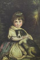 A FRAMED OIL ON CANVAS DEPICTING A SEATED YOUNG GIRL WITH A DOG SIGNED T. WEDDLE LOWER RIGHT