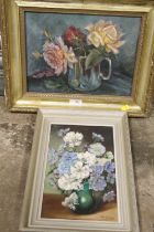 A FRAMED OIL ON CANVAS FLORAL STILL LIFE OIL ON CANVAS SIGNED ALIX JENNINGS, TOGETHER WITH AN