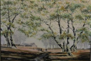 AN AUSTRALIAN SCHOOL OIL ON CANVAS OF HOMESTEAD SIGNED THOMAS P R LOWER RIGHT SIZE - 40CM X 30CM
