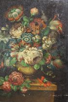 A 19TH CENTURY STILL LIFE OIL ON PANEL OF FLOWERS IN A VASE, POSSIBLY OVER PRINT BASE SIZE- 38CM X