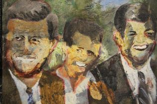 AN UNFRAMED OIL ON CANVAS OF JOHN, BOBBY AND TEDDY KENNEDY INDISTINCTLY SIGNED VERSO SIZE - 30CM X
