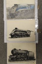 THREE UNFRAMED PENCIL DRAWINGS OF STEAM TRAINS ONE INITIALLED W.JBB.