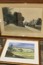 A FRAMED AND GLAZED WATERCOLOUR DEPICTING A RURAL STREET SCENE SIGNED JH BLAKEWELL?TOGETHER WITH A
