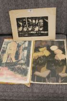 AN UNFRAMED ETCHING OF CHICKENS, TOGETHER WITH TWO UNFRAMED LITHOGRAPHS OF FLOWERS AND BUILDINGS (
