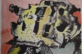AFTER TERRY FROST - AN UNFRAMED ABSTRACT MIXED MEDIA ON PAPER BEARING SIGNATURE LOWER RIGHT IN