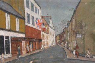 AN UNFRAMED OIL ON CANVAS OF A STREET SCENE WITH FIGURES SIZE - 71CM X 46CM