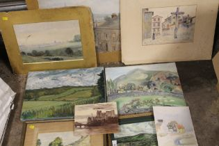 A COLLECTION OF MOSTLY UNFRAMED WATERCOLOURS AND OIL PAINTINGS ETC. TO INCLUDE LANDSCAPES, STREET
