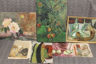 A COLLECTION OF STILL LIFE IMPRESSIONIST OIL PAINTINGS TO INCLUDE A FRAMED EXAMPLE (7)