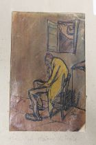AN UNFRAMED MIXED MEDIA STUDY OF AN INTERIOR SCENE WITH SEATED GENTLEMAN SIGNED FAY LOWER RIGHT