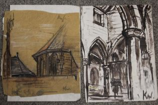 AFTER JOHN KYFFIN WILLIAMS - TWO UNFRAMED MIXED MEDIA PICTURES OF BUILDINGS INITIALLED KW LOWER