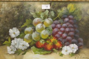 A VINTAGE FRAMED AND GLAZED STILL LIFE OIL PAINTING OF FRUIT SIGNED E. J. LUME? LOWER RIGHT