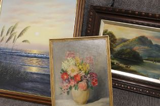 THREE ASSORTED FAMED OIL ON CANVASES COMPRISING OF A SEASCAPE SIGNED ROBERTSON, A STILL LIFE STUDY