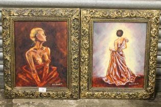 A PAIR OF GILT FRAMED OIL ON BOARD FIGURE STUDIES OF LADIES SIGNED CAROL SIEWEKE (SOUTH AFRICAN