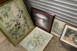 A COLLECTION OF PICTURES AND PRINTS TO INCLUDE A GILT FRAMED ANTIQUE STYLE PRINT A/F, BEVEL EDGED