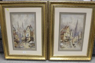 A. STORIE (XIX-XX). Scottish school, a pair of Continental town scenes with figures, one with