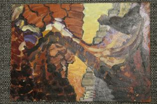 AN ABSTRACT UNFRAMED OIL ON BOARD STUDY OF A FIGURE BENEATH A TREE INDISTINCTLY SIGNED VERSO