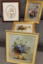 A FRAMED OIL ON CANVAS STILL LIFE STUDY ENTITLED BLUE DAISIES BY F HINETT, TOGETHER WITH TWO