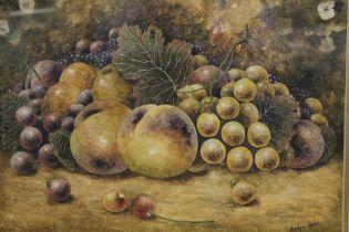 CHRISTOPHER HUGHES (b.1955). Royal Worcester porcelain artist, still life study of fruit on a