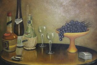 A FRAMED OIL ON BOARD OF A TABLE TOP STILL LIFE STUDY SIGNED A GODFREY LOWER RIGHT SIZE - 59CM X