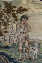 A 19TH CENTURY HAND STITCHED WOOL/SILKWORK LAID ON CANVAS DEPICTING A MAN WITH A DOG SIZE-43CM X