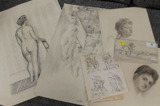 A QUANTITY OF UNFRAMED PENCIL SKETCHES AND PRINTS OF ASSORTED SUBJECTS AND ARTISTS TO INCLUDE