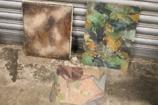 THREE UNFRAMED ABSTRACT COMPOSITION OIL PAINTINGS