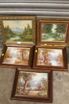 A COLLECTION OF FRAMED OIL ON CANVASES OF WOODED RIVER LANDSCAPES (5)
