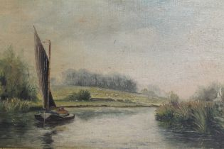 A GILT FRAMED OIL ON BOARD OF A COUNTRY RIVER LANDSCAPE WITH SAIL BOAT SIGNED C F RUMI LOWER LEFT