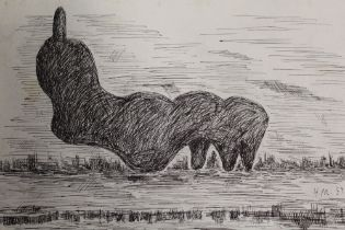 AFTER HENRY MOORE - AN UNFRAMED PEN AND INK STUDY OF A SCULPTURE IN A FIELD SIZE -28CM X 20CM