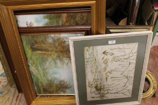 A QUANTITY OF PICTURES, PRINTS AND PICTURE FRAMES TO INCLUDE OIL ON CANVASES, VINTAGE GILT FRAMES