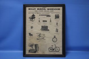 A LATE VICTORIAN FRAMED 'BEXLEY MUSICAL WAREHOUSE' ADVERTISING SIGN, 44 x 55 cm (including frame)