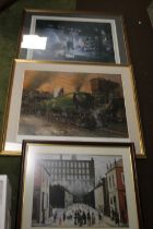 TWO FRAMED AND GLAZED RAILWAY PRINTS TO INCLUDE WINSTON CHURCHILL BY TERRANCE CUNEO TOGETHER WITH